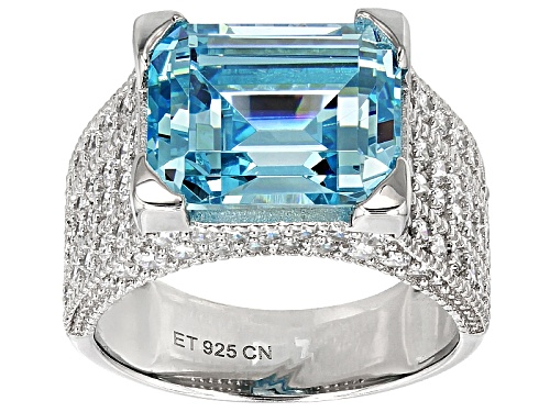 Photo of Bella Luce® 11.49ctw Blue & White Diamond Simulants Rhodium Over Sterling Silver Ring(7.29ctw Dew) - Size 5