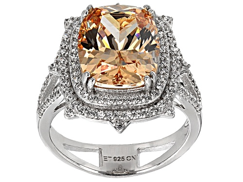 Bella Luce ® 10.54ctw Champagne & White Diamond Simulants Rhodium Over Sterling Silver Ring - Size 12