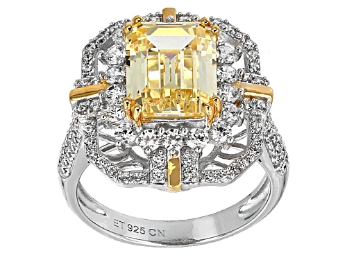 Photo of Bella Luce®8.52ctw Canary & White Diamond Simulants Rhodium & Eterno™Yellow Over Sterling Ring - Size 5