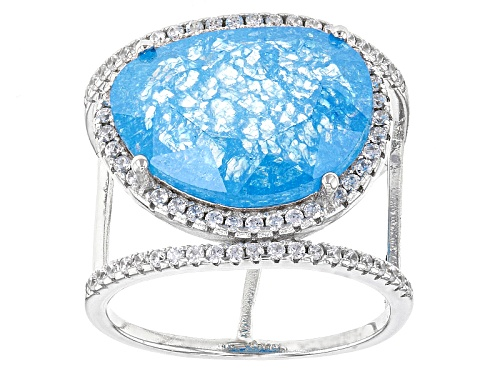 Photo of Bella Luce® 16.62ctw Blue And White Diamond Simulants Rhodium Over Sterling Ring (9.71ctw Dew) - Size 6