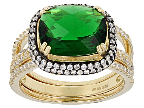 Photo of Bella Luce ® 4.46ctw Emerald And White Diamond Simulants Eterno ™ Yellow Ring With Bands - Size 11