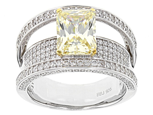 Photo of Bella Luce ® 5.66ctw Canary & White Diamond Simulants Rhodium Over Sterling Silver Ring - Size 11