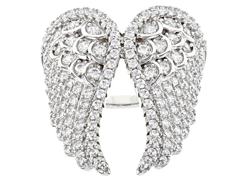 Photo of Bella Luce ® 6.30ctw Rhodium Over Sterling Angel Wing Silver Ring (1.45ctw Dew) - Size 5
