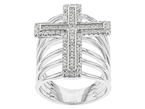 Photo of Bella Luce ® .94ctw Rhodium Over Sterling Silver Cross Ring (.53ctw Dew) - Size 5
