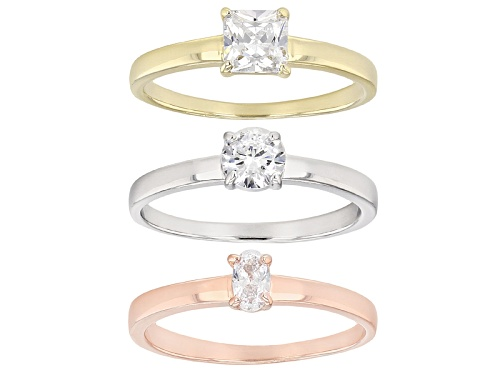 Photo of Bella Luce ® 1.94ctw Eterno ™ Rose And Yellow And Rhodium Over Sterling Silver Rings- Set Of 3 - Size 11