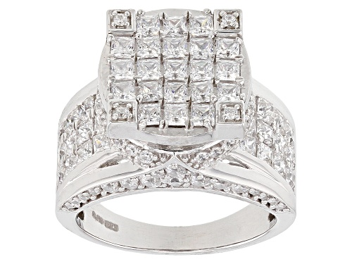 Bella Luce ® 11.65ctw White Diamond Simulant Rhodium Over Sterling Silver Ring (3.60ctw Dew) - Size 5