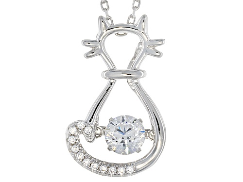 """Photo of Bella Luce ® .91ctw Rhodium Over Sterling Silver """"Dancing Bella"""" Cat Pendant With Chain (.52ctw Dew)"""