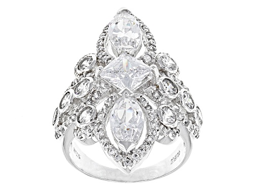 Bella Luce ® 8.19ctw White Diamond Simulant Rhodium Over Sterling Silver Ring (4.80ctw Dew) - Size 7