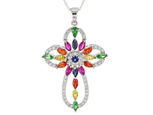 Photo of Bella Luce ® 5.27ctw Multicolor Gemstone Simulants Rhodium Over Silver Cross Pendant With Chain