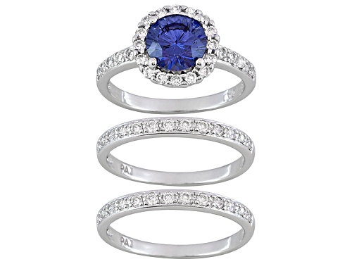 Photo of Bella Luce ® Dillenium Cut 3.17ctw Tanzanite Color Rhodium Over Sterling Silver Ring With Bands - Size 8
