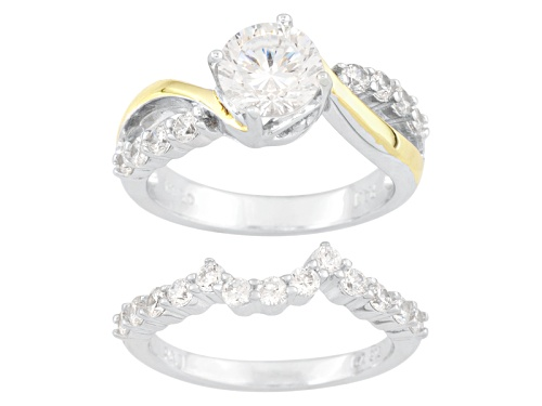 Photo of Bella Luce ® 2.93ctw Dillenium Cut Rhodium & Sterling 18k White Gold Over Silver Ring & Guard - Size 8