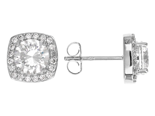Bella Luce ® Dillenium Cut 4.02ctw Round Rhodium Over Sterling Silver Earrings