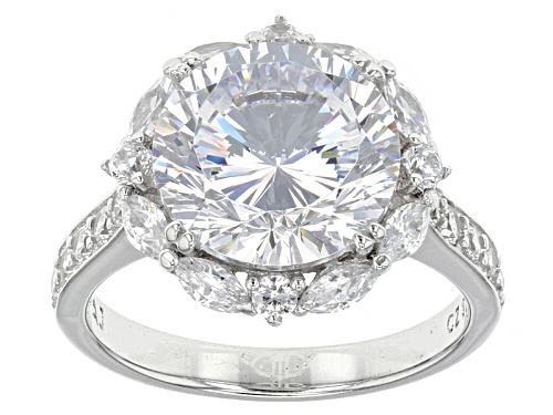 Bella Luce ® Dillenium Cut 10.65ctw Round & Marquise Rhodium Over Sterling Silver (6.13ctw Dew) - Size 6