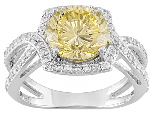 Photo of Bella Luce ® Dillenium Cut 5.08ctw Round Rhodium Over Sterling Silver Ring (3.35ctw Dew) - Size 10