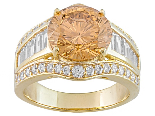 Photo of Bella Luce ® Dillenium Cut 8.24ctw Champagne And White Diamond Simulant Eterno ™ Yellow Ring - Size 10