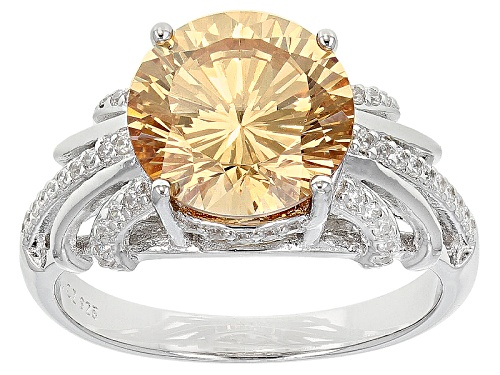 Photo of Bella Luce ® Dillenium 6.42ctw Champagne And White Diamond Simulants Rhodium Over Silver Ring - Size 11