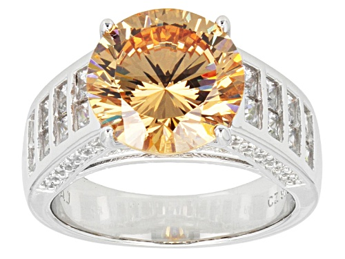 Photo of Bella Luce ® Dillenium Cut 7.72ctw Champagne And White Diamond Simulants Rhodium Over Silver Ring - Size 5