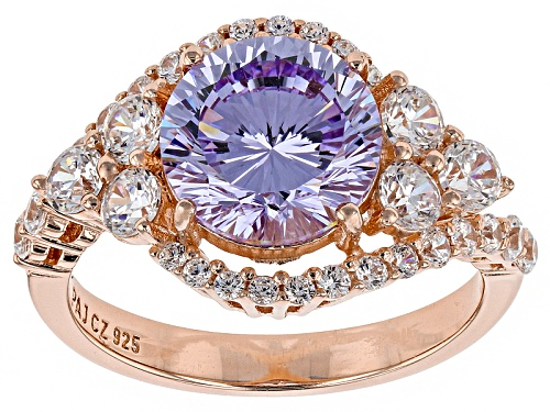 Photo of Bella Luce ® Dillenium Cut 6.47ctw Lavender And White Diamond Simulants Eterno ™ Rose Ring - Size 7