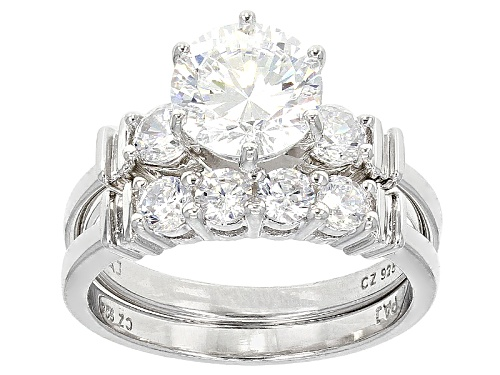 Photo of Bella Luce® Dillenium Cut 4.54ctw Diamond Simulant Rhodium Over Sterling Silver Ring With Band - Size 11