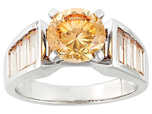 Photo of Bella Luce® Dillenium Cut 5.24ctw Champagne & White Diamond Simulant Rhodium Over Sterling Ring - Size 5