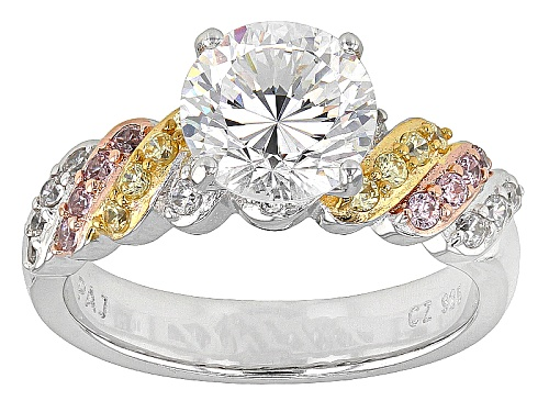 Photo of Bella Luce®Dillenium Cut 3.87ctw Canary,Pink & White Diamond Simulants Rhodium Over Sterling Ring - Size 10