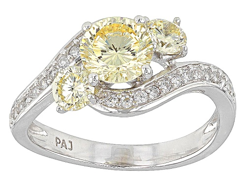 Photo of Bella Luce ® Dillenium Cut 3.07ctw Canary And White Diamond Simulants Rhodium Over Sterling Ring - Size 10