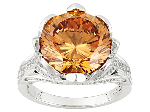 Photo of Bella Luce®Dillenium Cut 11.64ctw Champagne And White Diamond Simulants Rhodium Over Sterling Ring - Size 7