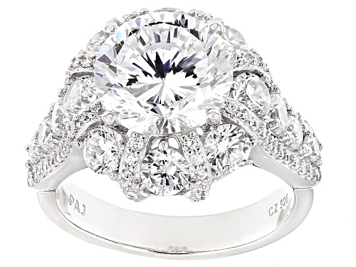 Photo of Bella Luce® Dillenium Cut 9.86ctw Diamond Simulant Rhodium Over Sterling Silver Ring (6.03ctw Dew) - Size 10