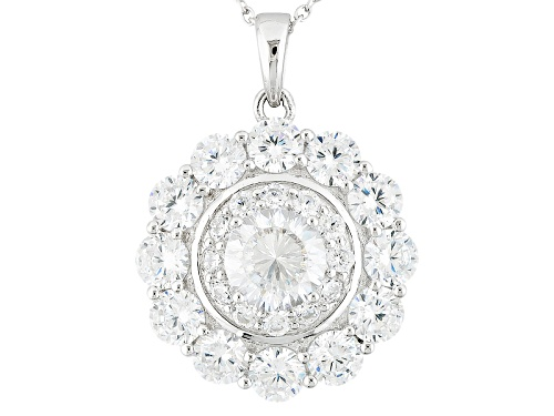 Photo of Bella Luce ® Dillenium Cut 7.71ctw Diamond Simulant Rhodium Over Sterling Pendant & Chain