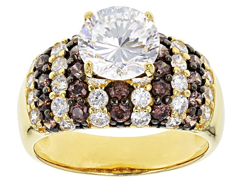 Photo of Bella Luce® Dillenium Cut 6.31ctw White & Mocha Diamond Simulants Eterno ™ Yellow Ring - Size 10