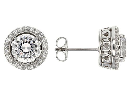 Photo of Bella Luce ® Dillenium Cut 4.98ctw Diamond Simulant Rhodium Over Sterling Earrings (3.00ctw Dew)