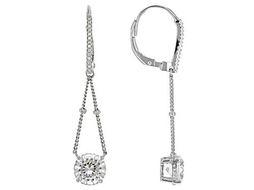 Bella Luce® Dillenium Cut 4.56ctw Diamond Simulant Rhodium Over Sterling Silver Earrings