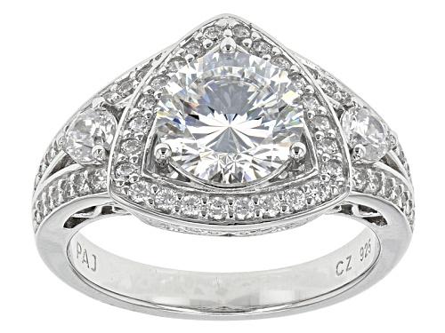 Photo of Bella Luce® Dillenium Cut 4.47ctw Diamond Simulant Rhodium Over Sterling Silver Ring (2.88ctw Dew) - Size 6