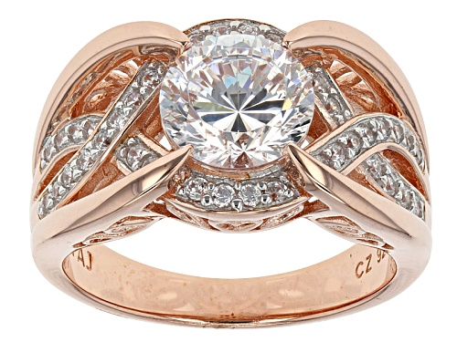 Photo of Bella Luce® Dillenium Cut 3.69ctw Diamond Simulant Eterno ™ Rose & Rhodium Over Sterling Ring - Size 11