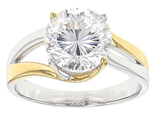 Photo of Bella Luce®Dillenium Cut 4.59ctw Diamond Simulant Rhodium Over Sterling & Eterno ™ Yellow Ring - Size 10