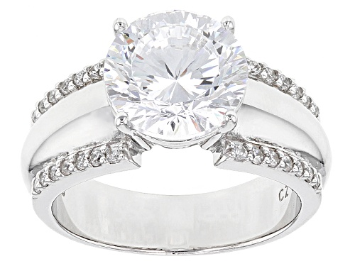 Photo of Bella Luce® Dillenium Cut 6.45ctw Diamond Simulant Rhodium Over Sterling Silver Ring (4.15ctw Dew) - Size 11