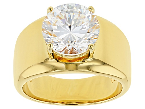 Bella Luce® Dillenium Cut 6.03ctw Diamond Simulant Eterno™ 18K Gold Over Silver Ring (3.87ctw Dew) - Size 8