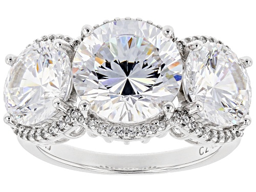 Photo of Bella Luce ® Dillenium Cut 12.70ctw White Diamond Simulant Rhodium Over Sterling Silver Ring - Size 7