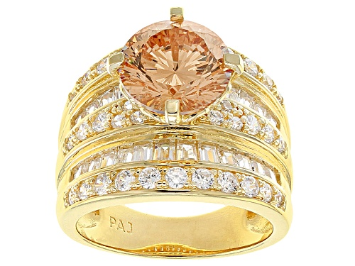 Photo of Bella Luce ® Dillenium Cut 9.36ctw Champagne & White Diamond Simulants Eterno ™ Yellow Ring - Size 7