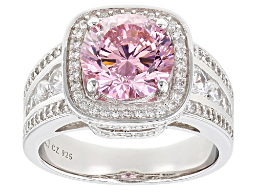 Photo of Bella Luce ® 6.80ctw Dillenium Pink and White Diamond Simulants Rhodium Over Silver Ring - Size 9