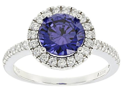 Photo of Bella Luce ® Esotica ™ 3.88ctw Tanzanite & White Diamond Simulants Rhodium Over Silver Ring - Size 8