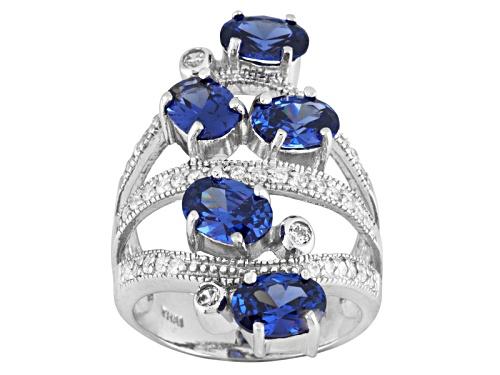 Photo of Bella Luce ® Esotica ™ 7.17ctw Tanzanite Simulant & White Dia Sim Rhodium Over Silver Ring - Size 6