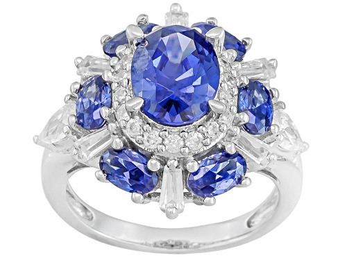 Photo of Bella Luce ® Esotica ™ 6.69ctw Tanzanite & White Diamond Simulants Rhodium Over Silver Ring - Size 7