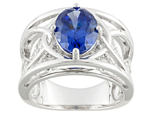 Photo of Bella Luce ® Esotica ™ Tanzanite Simulant & White Simulant 5.79ctw Rhodium Over Silver Ring - Size 7