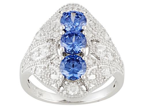 Photo of Bella Luce ® Esotica ™ 2.59ctw Tanzanite & White Diamond Simulants Rhodium Over Silver Ring - Size 5