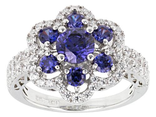 Photo of Bella Luce ® Esotica ™ 3.50ctw Tanzanite & White Diamond Simulants Rhodium Over Silver Ring - Size 10