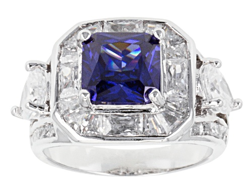 Photo of Bella Luce ® Esotica™ 10.36ctw Tanzanite & White Diamond Simulants Rhodium Over Silver Ring - Size 10