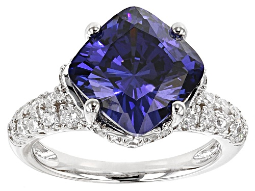 Photo of Bella Luce ® Esotica ™ Tanzanite Simulant & White Diamond Simulant Rhodium Over Silver Ring - Size 9