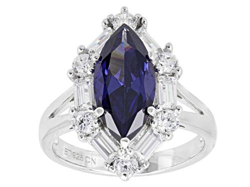 Photo of Bella Luce ® Esotica ™ 6.73ctw Tanzanite & Diamond Simulants Rhodium Over Sterling Silver Ring - Size 8