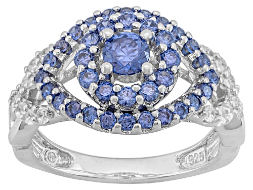 Photo of Bella Luce® Esotica ™ 1.74ctw Tanzanite/White Diamond Simulants Rhodium Over Silver Ring - Size 5